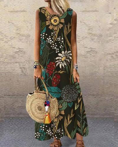 Vintage Printed Sleeveless O-neck Casual Dress