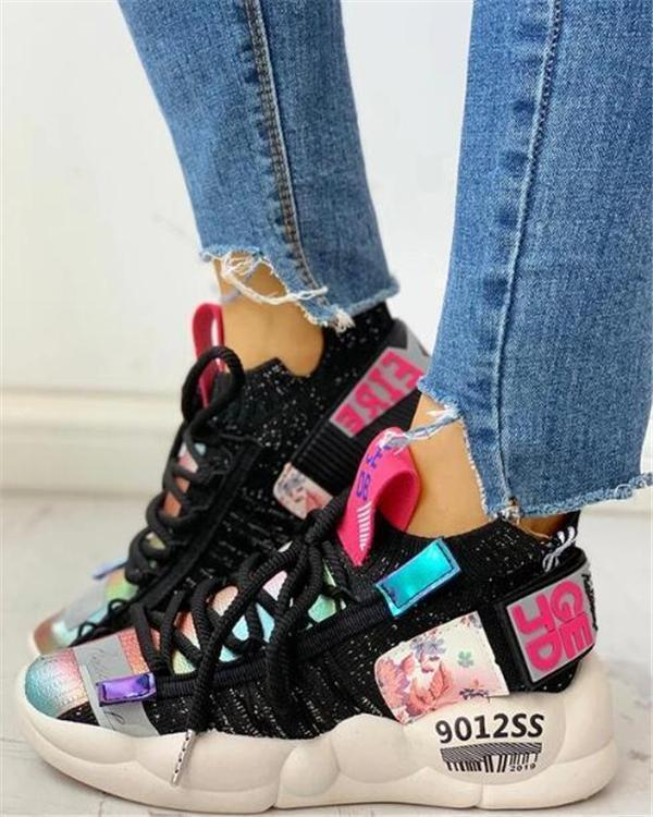 Fashion Knitted Breathable Lace-up Casual Sneakers