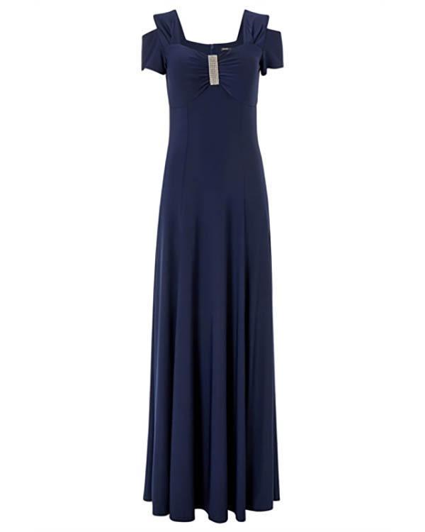 Black Diamante Cold Shoulder Maxi Dress
