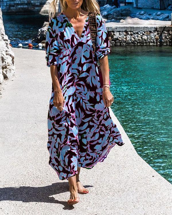 Plus Size Summer Print V Neck Half Sleeve Shift Dress