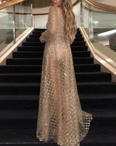 Sequins Backless Maxi Dress