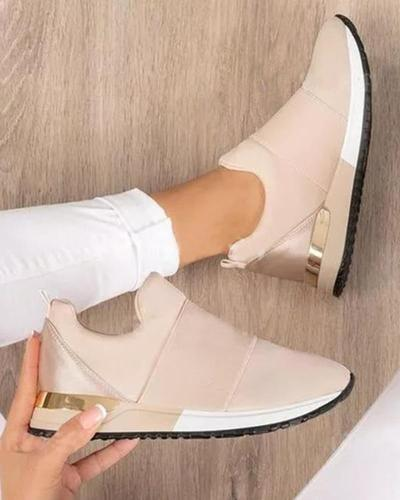 Women Solid Color Slip-on Sneakers