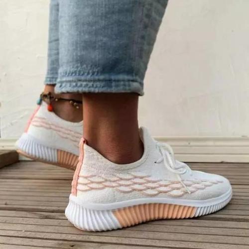 Women All Season Lace-up Decor Slip On Knit Sneakers
