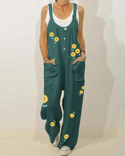 Button Floral Print Straps Loose Casual Jumpsuit For Women