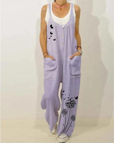 Pocket Butterfly Flower Print Casual Jumpsuit For Women