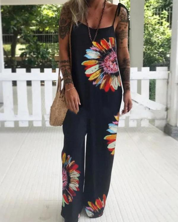 Black Floral Spaghetti Casual One-Pieces