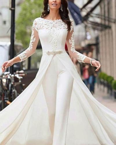 White Jumpsuits Pants Long Sleeve Wedding Dresses Lace Satin With Overskirts
