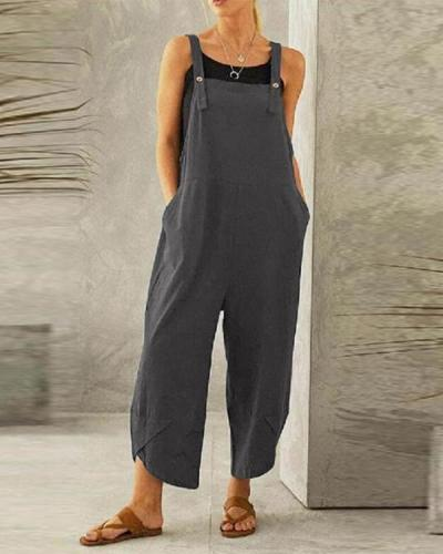Pure Color Casual Cropped Overalls Casual One-pieces Jumpsuits
