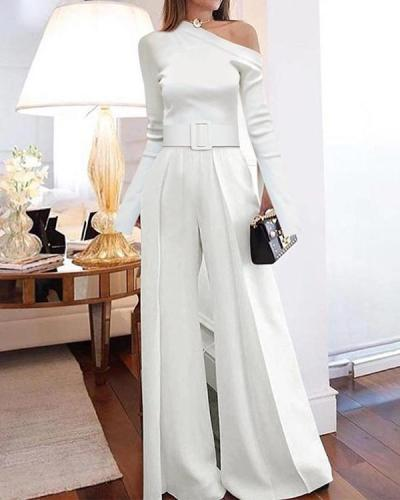 Classy Long Sleeve One Shoulder Jumpsuits With Belt