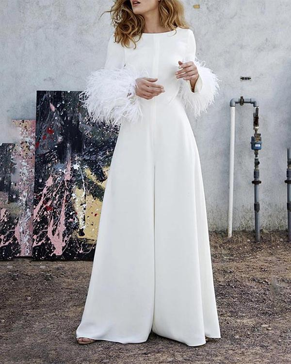 Classy Long Sleeve Furry Sleeve Round Neck Wide Leg Jumpsuits