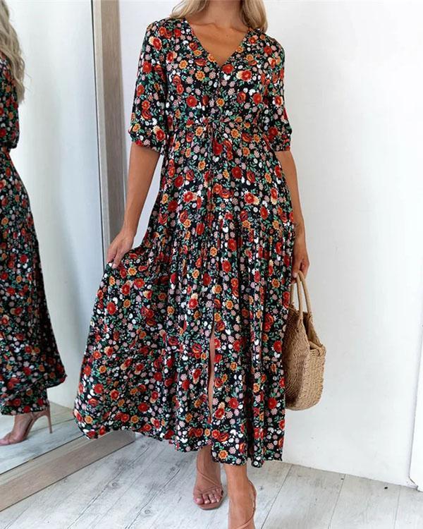 Vintage Half Sleeves Casual A-line Multiflora Maxi Dresses