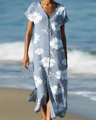 Loose Flower Printed Short Sleeves Midi Dress