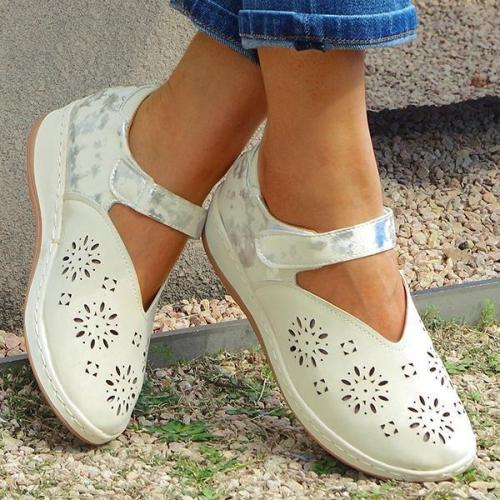 Women's Fashionable Hollow Carved Comfortable Velcro Sandals