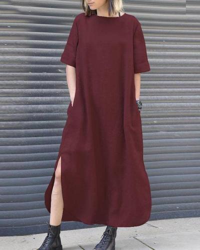 Womens Casual Summer Solid Long Shirt Dress