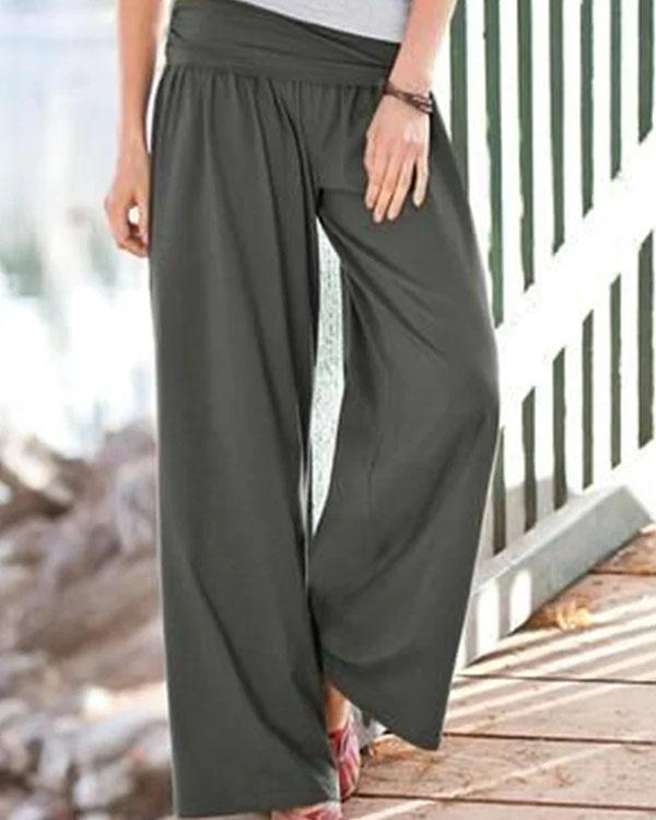 Casual Cotton Solid Pleated Wide Leg Pants