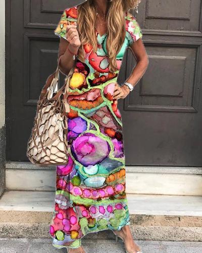 Casual Colorful V-neck Shift Maxi Dress