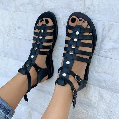 Summer Chic Gladiator PU Flat Sandals
