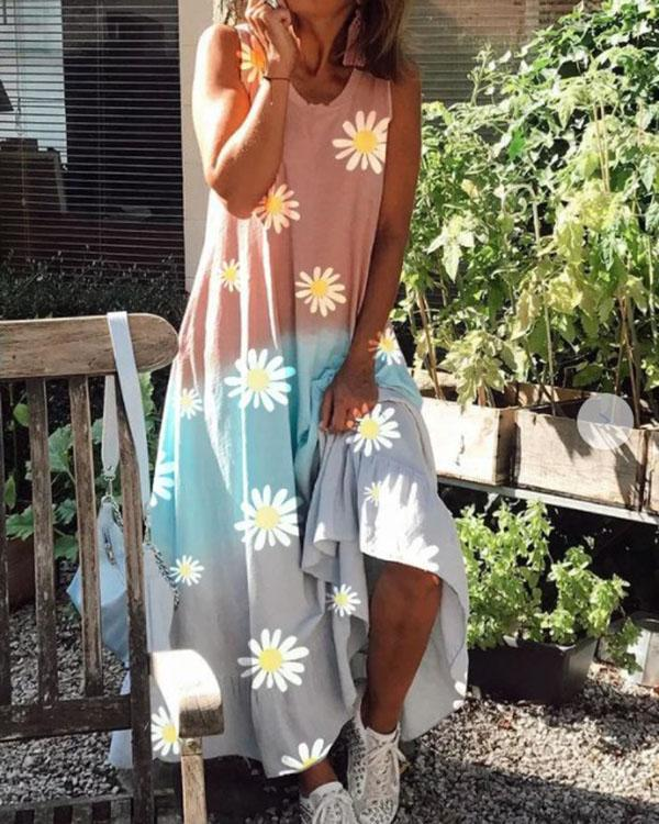 Sunflower Gradient Color Comfy Round Neck Sleeveless Maxi Dress