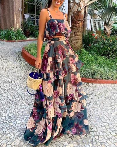 Sexy Bohemian Beach Two Piece Maxi Dress