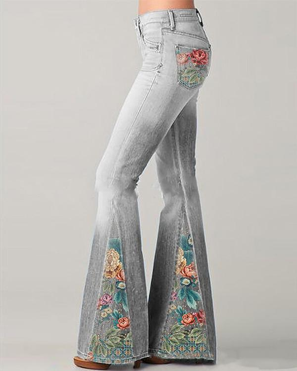 New Fashion Gradient Flower Printed Jeans Flared Pants