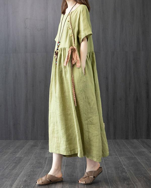 Cotton and Linen Dress Summer Loose Large Size Stitching Casual Maxi Dress