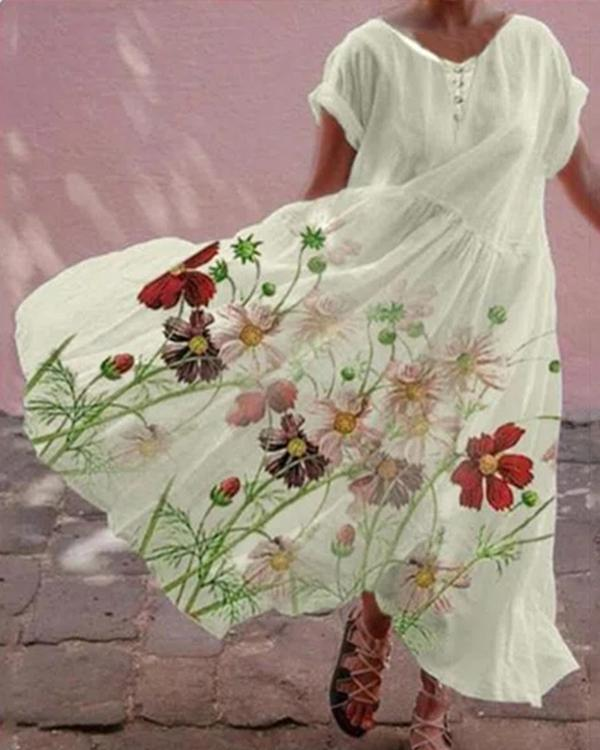 Casual Floral Print Button Pleated Maxi Dress