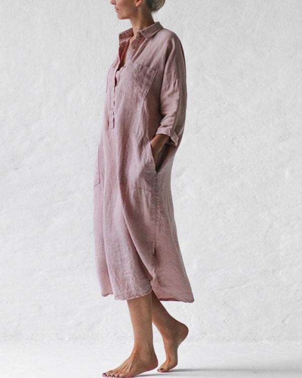 Casual Pink Solid Linen Pullover Shirt Dresses with Pockets
