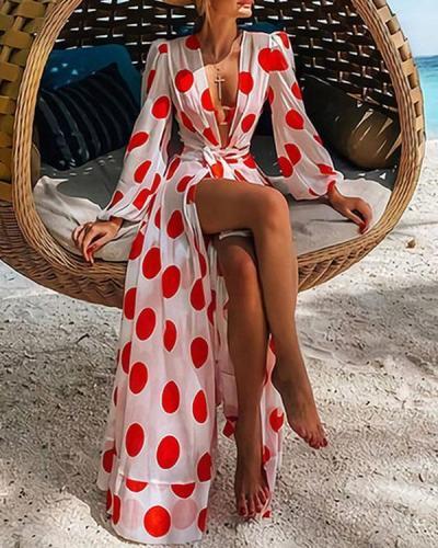 Spring Summer Long Sleeve Lace up Polka Dot Maxi Dress Beach Cardigan