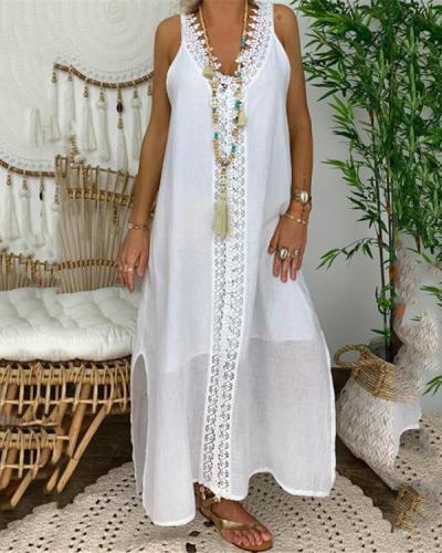 Linen Lace Trim Pure Color Split Maxi Dress