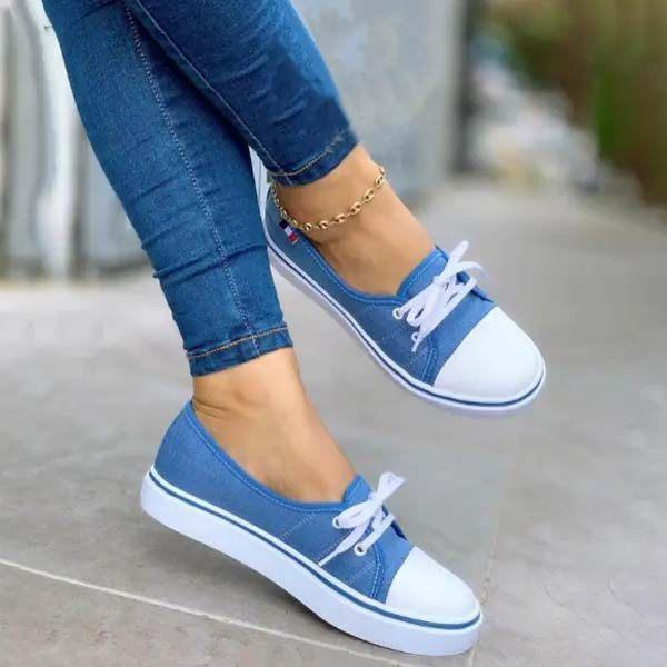 Women's Casual Strap Flat Canvas Shoes