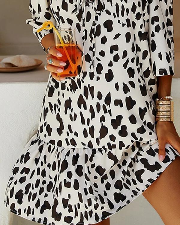 Leopard Print Short-sleeve Casual Off-Shoulder Dresses