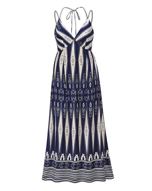 Sexy V-neck Sling Print Halter Maxi Dress