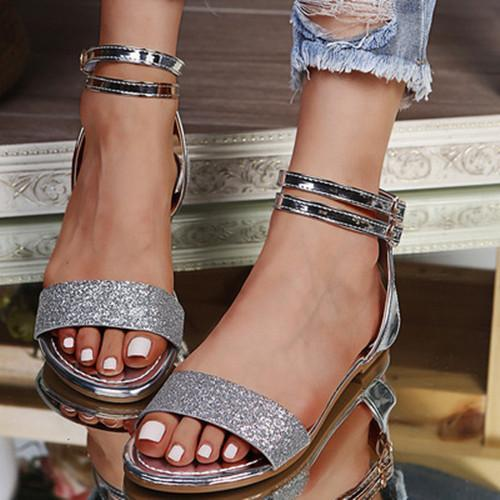 Women's Stylish Sequined Strappy Flat Sandals