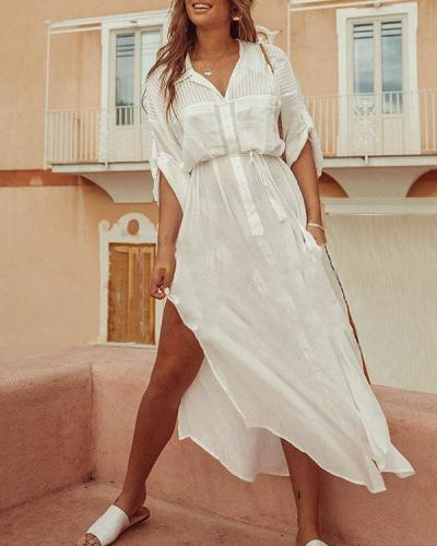 White Cotton Maxi Beach Dress