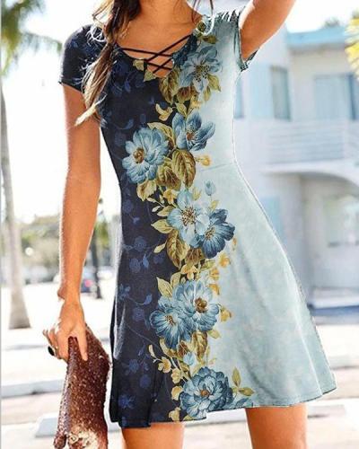 A Line Floral Color Block Short Sleeve Dresses