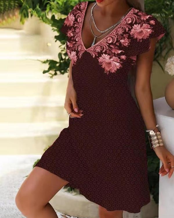 Floral Print Floral Shift Basic Dresses