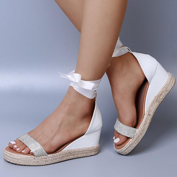Womens Diamond Lace-up Wedge Sandals