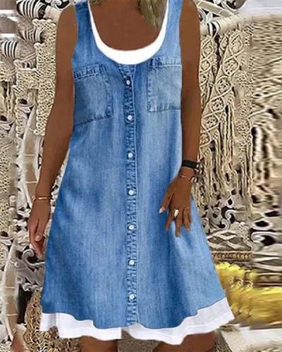 Vintage Summer Solid Blue Patchwork Contrast Sleeveless Dress