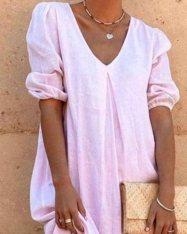 Vintage Boho Holiday 3/4 Sleeve Plain Shift Casual Dresses