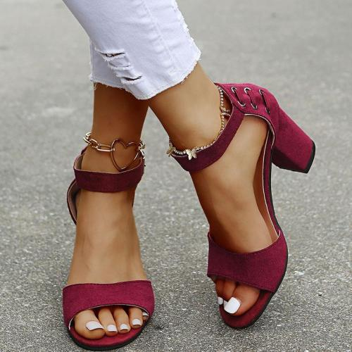 Low Heel Suede Buckle Sandals