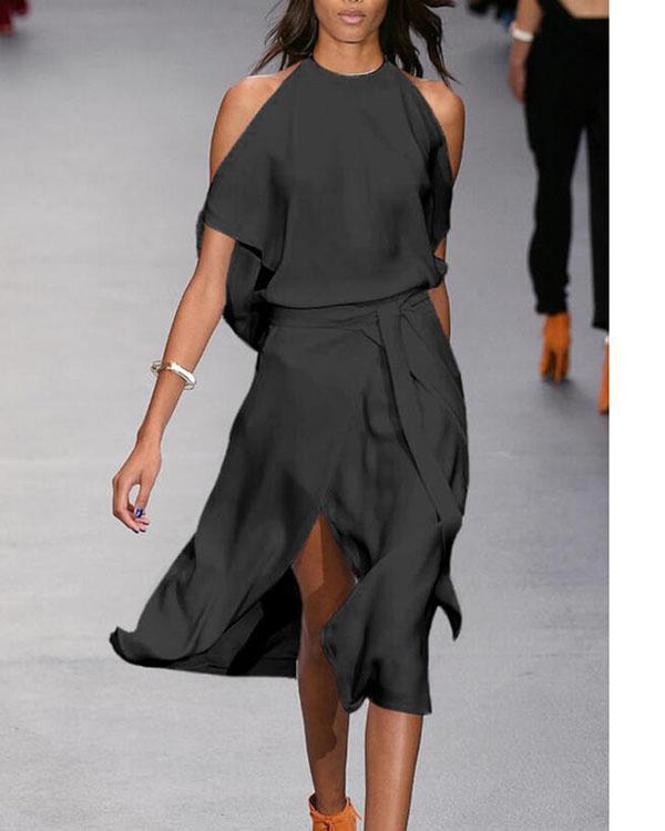 Solid Short Sleeves A-line Skater Little Black/Party Midi Dresses