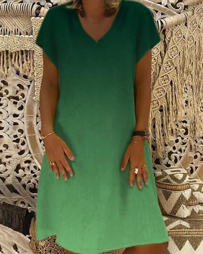 New Fashion Personality V-neck Gradient Print Dress