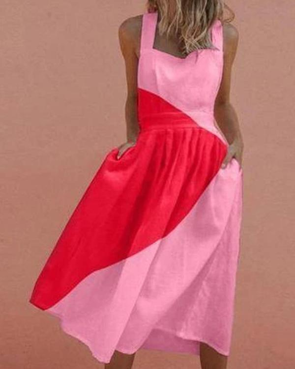 Sexy Striking Color Contrast Pleated Dress