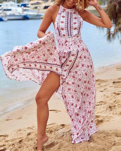 Women Halter Neck Floral Vacation Slit Maxi Dress