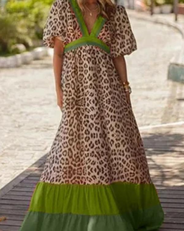 Deep V-Neck Leopard Color Block Maxi Dress