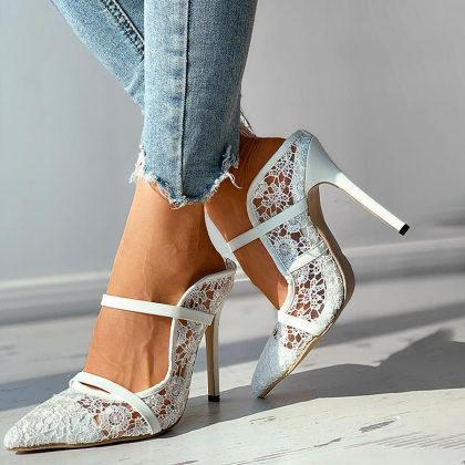 Womens Lace Hollow Sexy Stiletto Sandals