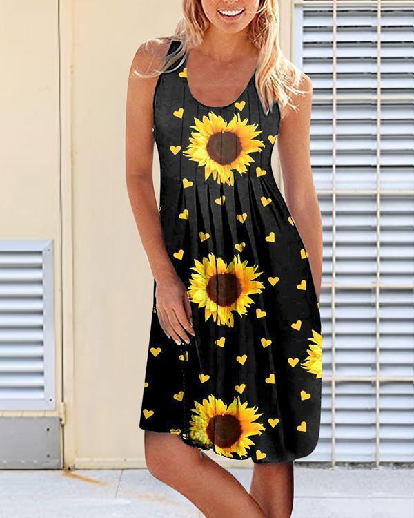 Sunflower Print Sleeveless Dress