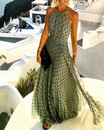 Polka Dot Floral Sleeveless Halter Neck Bohemian Vacation Dress