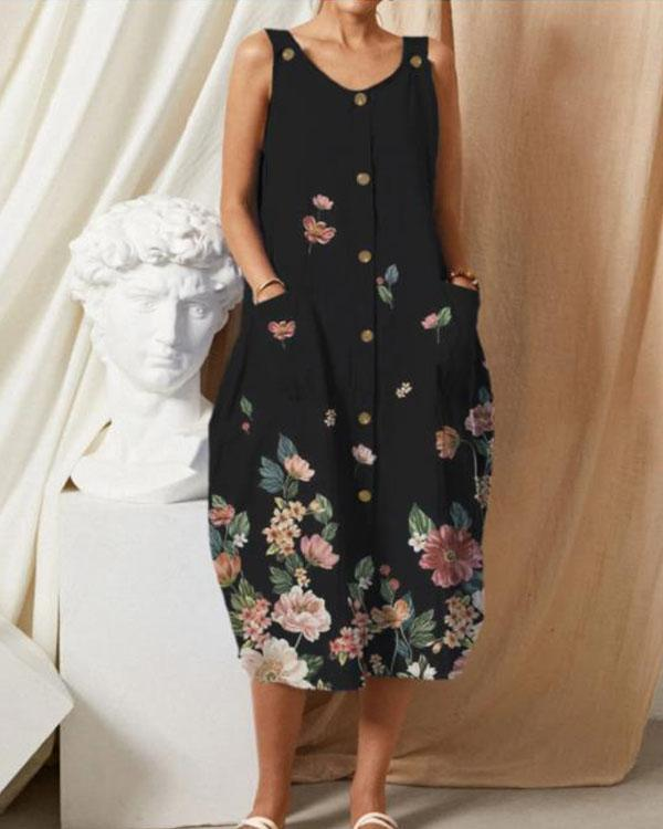 Casual Black Loose Flower Button Sleeveless Midi Dress with Pockets