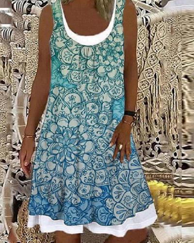 Vintage Leaves Print Patchwork Contrast Midi Dress